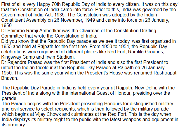 Republic Day English Speech 2020
