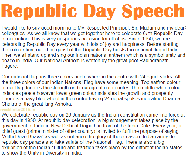 Republic Day Speeches